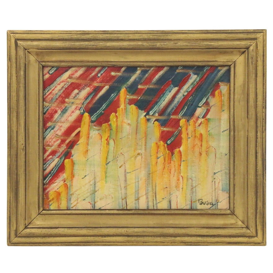 Busa Abstract Oil Painting, Mid-20th Century