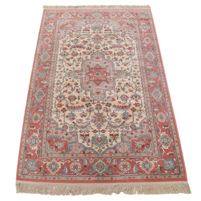 "5'9 x 9'10 Machine Made Karastan ""Ivory Medallion Serapi"" Wool Rug"
