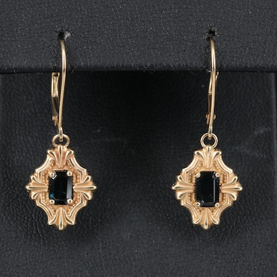 14K Sapphire Drop Earrings