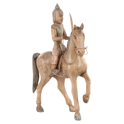 Southeast Asian Style Carved Wood Equestrian Figure