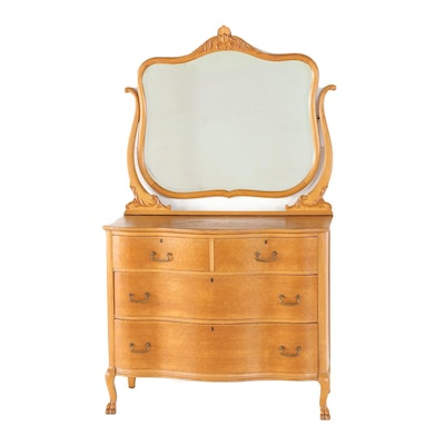 Colonial Revival Maple Chest of Drawers with Mirror, Early 20th Century