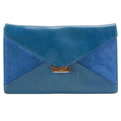 Céline Blue Leather and Suede Envelope Clutch