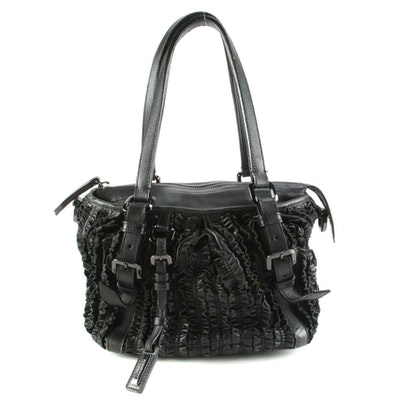 Burberry Black Ruffled Leather Two-Way Shoulder Bag
