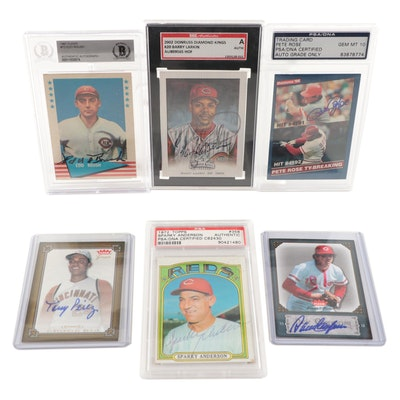 Roush, Larkin, Rose, Anderson, Perez, Concepcion Certified Signed Baseball Cards