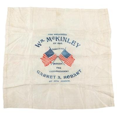William McKinley & Garret Hobart Jugate Campaign Silk Handkerchief, 1896