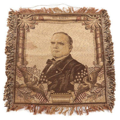 Machine Woven Jacquard Tapestry Portrait of William McKinley, circa 1900