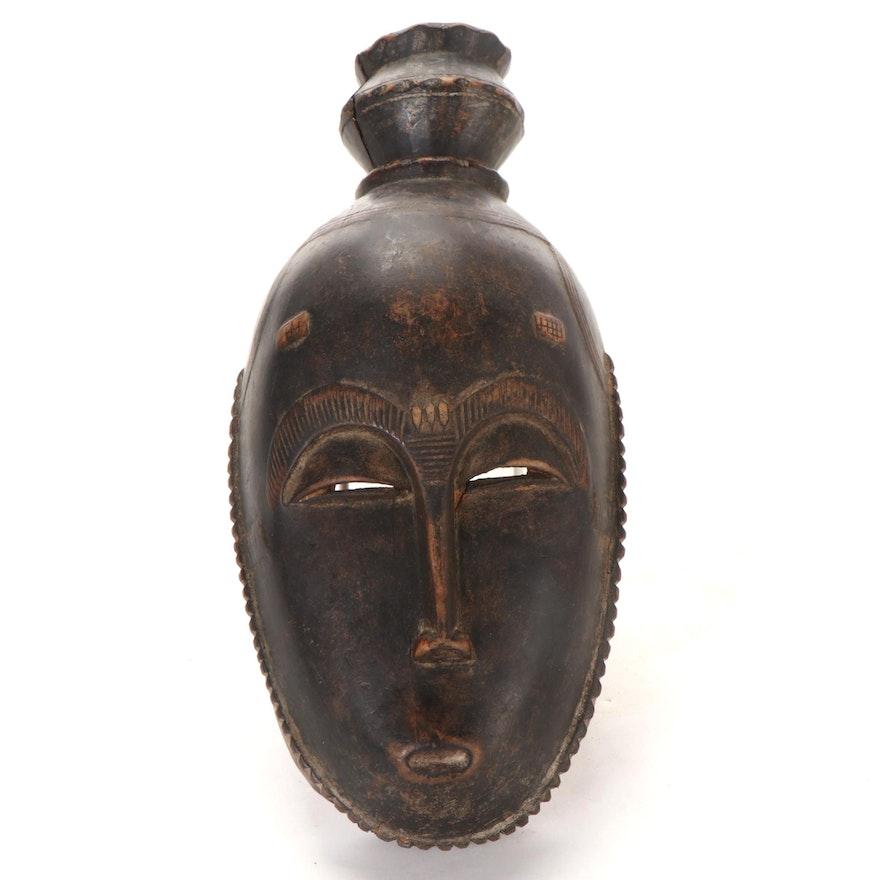 Yaure Style Carved Wood Mask, Côte d'Ivoire