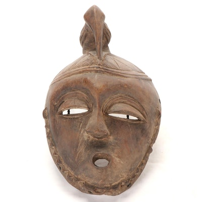 West African Style Carved Wood Mask with Bird Crest, Côte d'Ivoire