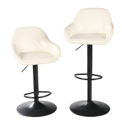 Pair of Glitzhome Faux Leather Adjustable Height Bar Stools with Gas Lift