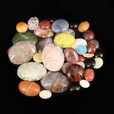 Loose Mixed Gemstones Including Rose Quartz, Mahogany Obsidian, Fluorite