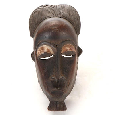 Baule-Yaure Style Carved Wood Mask, West Africa