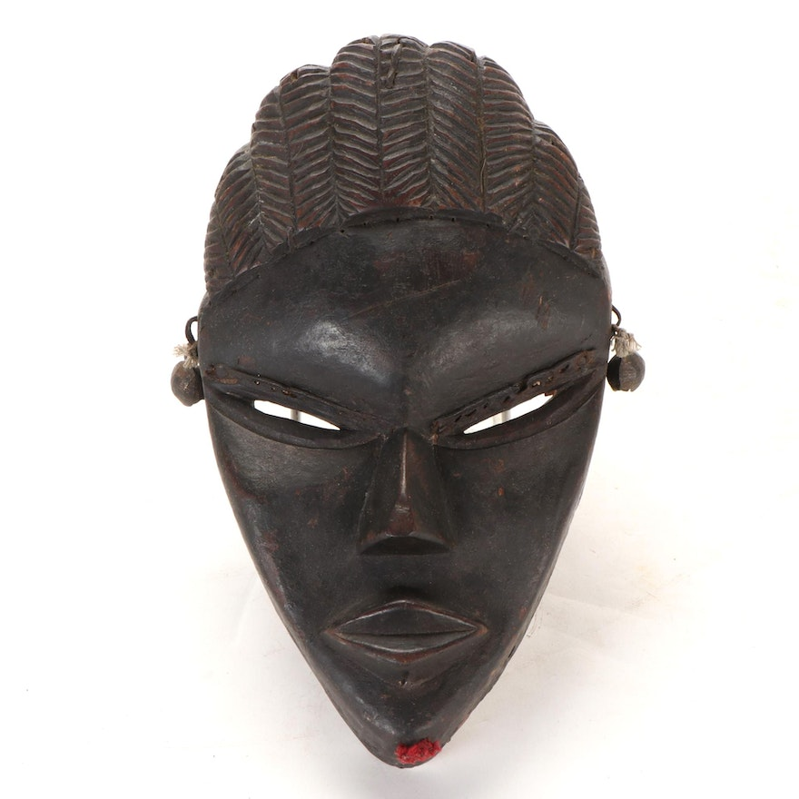 Dan-Bassa Style Carved Wood Mask, West Africa