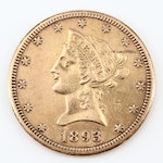 Key Date Low Mintage 1893-CC Liberty Head $10 Gold Eagle