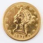 Key Date 1891-CC Liberty Head $10 Gold Eagle