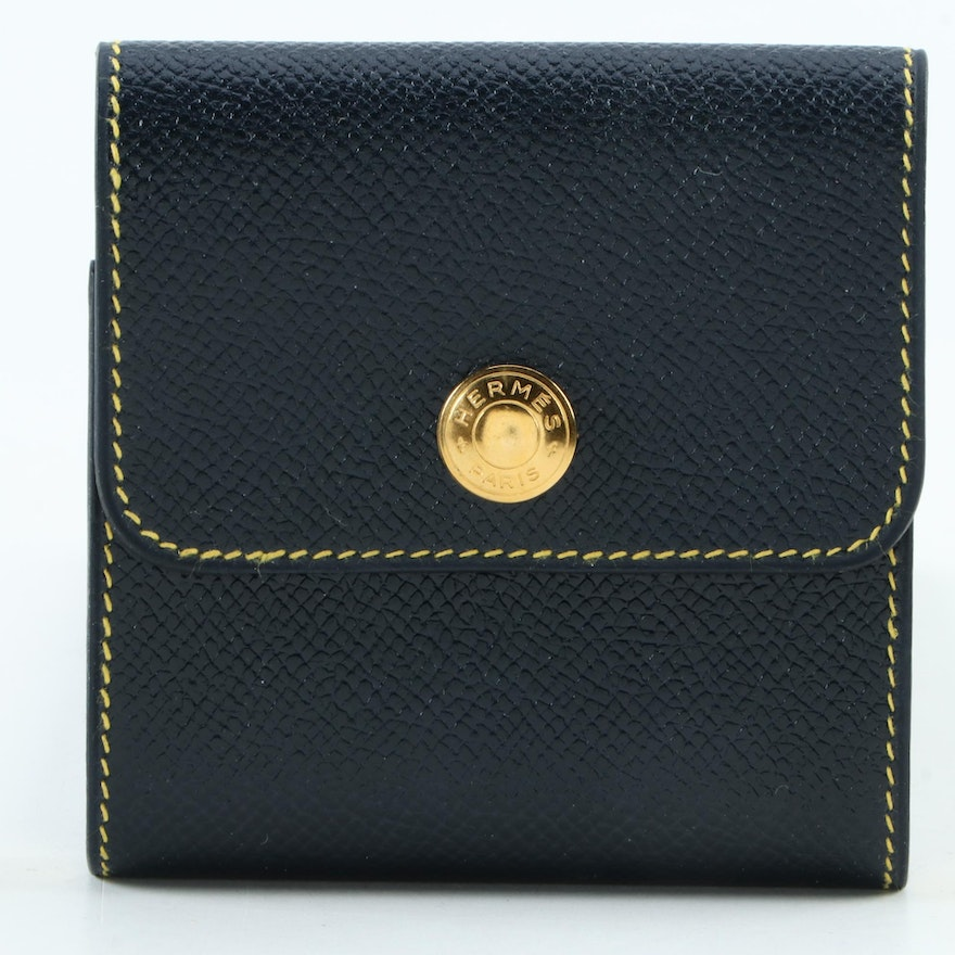 Hermès Navy Blue Epsom Leather Notepad Cover with Contrast Stitching