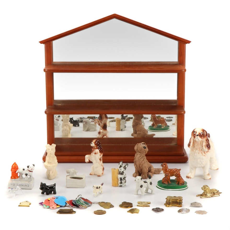 Dog Figurines, and Dog Tags with Wood Mirrored Wall Shelf, Late 20th Century