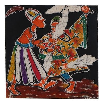 "Lekan O. Nigerian Batik Textile Art ""Fluid Dance,"" 2000"