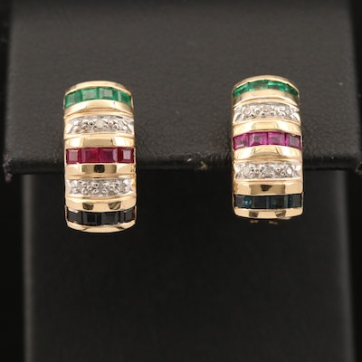 14K Ruby, Emerald, Sapphire and Diamond Earrings