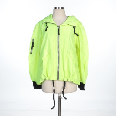 BB Dakota Neon Yellow Zipper-Front Windbreaker Jacket