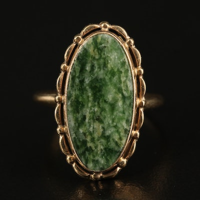 10K Nephrite Pointer Ring