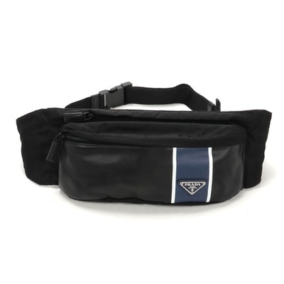 Prada Belt Bag in Printed Leather and Black Tessuto Nylon