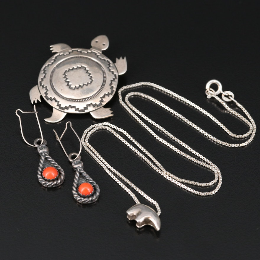 Southwestern Sterling Jewelry Including Bear Fetish Necklace and Turtle Brooch