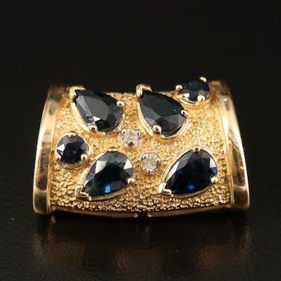 14K Sapphire and Diamond Slide Pendant