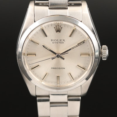 1972 Rolex Oyster Precision Stainless Steel Stem Wind Wristwatch