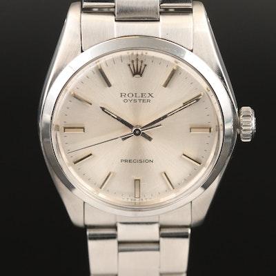 1972 Rolex Oyster Precision Stainless Steel Stem Wind Wristwatch
