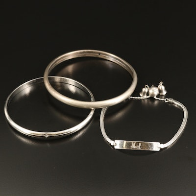 Sterling Bangles and ID Bracelet
