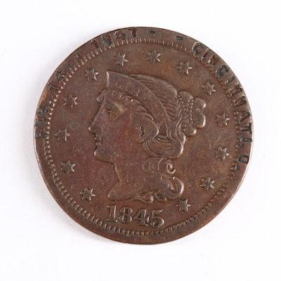1845 Braided Hair Large Cent Masonic Token