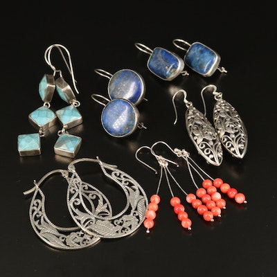 Sterling Dangle and Hoop Earrings with Lapis Lazuli, Magnasite and Coral