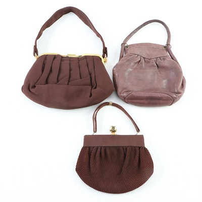 Top Handle Frame Bags in Gathered Brown Leather and Textile Fabrics