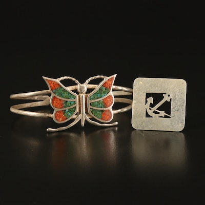 Doskow Sterling Anchor Brooch with Coral and Turquoise Butterfly Cuff
