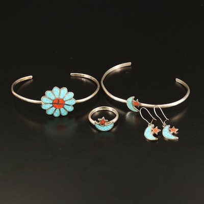Southwestern Sterling Coral and Turquoise Flower and Crescent Inlay Jewelry