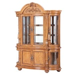 Baroque Style Two-Piece Illuminated China Cabinet