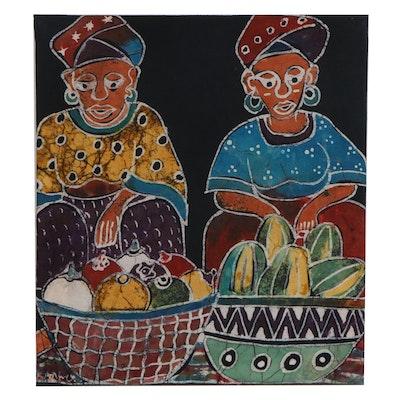 "Lekan O. Batik Textile ""Market Day II,"" 2010"