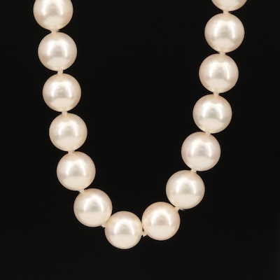 D'Elia & Tasaki Knotted Pearl Necklace with 18K Clasp