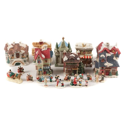 Herald Hand-Painted Porcelain Christmas Village Buildings and Figurines