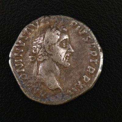 Ancient Roman Imperial AR Denarius of Antoninus Pius, ca. 158 A.D.