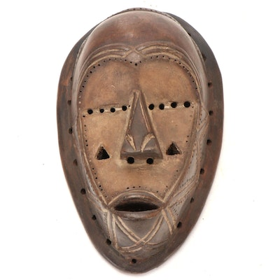 Tetela Style Carved Wood Mask, Central Africa