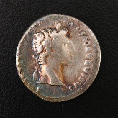 Ancient Roman Imperial AR Denarius of Augustus Caesar, ca. 2 B.C.