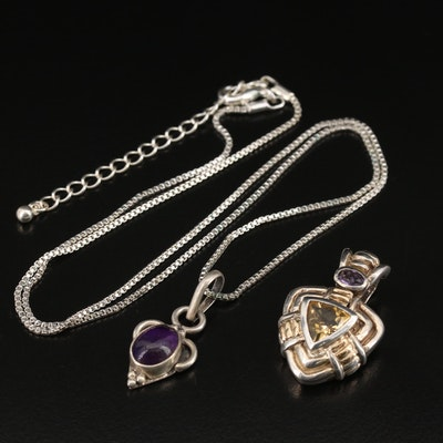 Sterling Amethyst Necklace and Amethyst and Citrine Enhancer Pendant with 14K