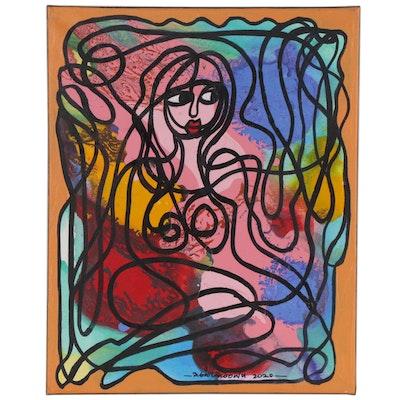 "Abiola Idowu Mixed Media Painting ""Symbol of Peace,"" 2020"