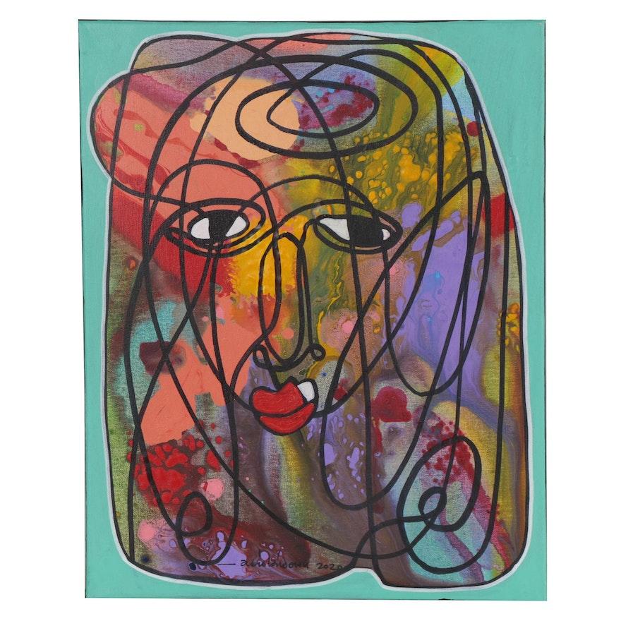 "Abiola Idowu Mixed Media Painting ""Humanitarian,"" 2020"