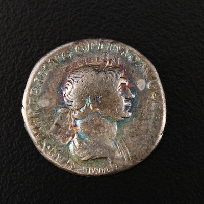Ancient Roman Imperial AR Denarius of Trajan, ca. 115 A.D.