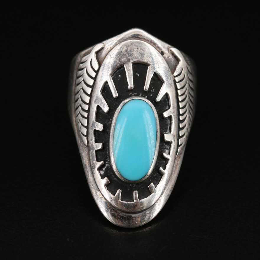 Ben Nighhorse Cheyenne Sterling Silver Turquoise Ring