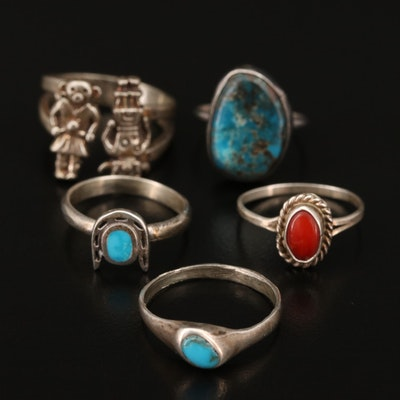 Western Sterling Silver Turquoise and Coral Rings Featuring Kachinas