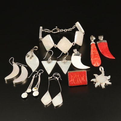 Sterling Mother of Pearl, Shell and Coral Jewelry with Sun and Claw Pendants