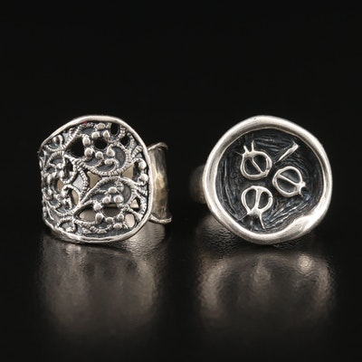 Israeli Sterling Ring Selection Featuring Hagit Gorali Pomegranate Motif